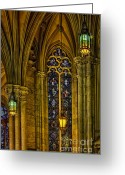 Religious Building Greeting Cards - Stained Glass Windows At Saint Patricks Cathedral Greeting Card by Susan Candelario