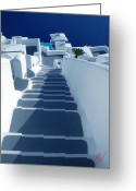 Hera Greeting Cards - Stairs down to oceon Santorini Greeting Card by Colette Hera  Guggenheim