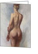 Figure Pose Greeting Cards - Standing Nude I Greeting Card by Anna Bain