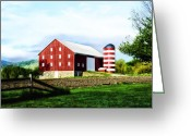 Spangled Greeting Cards - Star Spangled Farm Greeting Card by Bill Cannon