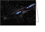 Starship Enterprise  Greeting Cards - Star Trek - Wormhole Effect - USS Enterprise D Greeting Card by Jason Politte