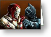 Batman Greeting Cards - Stark Industries vs Wayne Enterprises Greeting Card by Vinny John