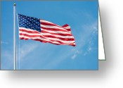 Red Sign Greeting Cards - Stars and Stripes Greeting Card by Semmick Photo