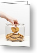 Cookie Photo Greeting Cards - Stealing cookies from the cookie jar Greeting Card by Elena Elisseeva