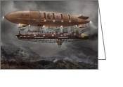 Flying Greeting Cards - Steampunk - Blimp - Airship Maximus  Greeting Card by Mike Savad