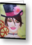 Edwardian Pastels Greeting Cards - Steampunk Girl Greeting Card by Absinthe Art  By Michelle Scott