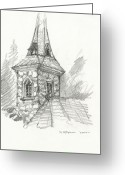 Reverence Drawings Greeting Cards - Steeple Greeting Card by Michael Shegrud