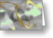Sterling Silver Greeting Cards - Sterling Desire Abstract Greeting Card by Alexander Butler
