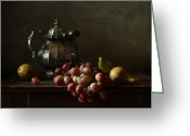 Teapot Greeting Cards - Still Life with pewter teapot and grapes and pears  Greeting Card by Diana Amelina