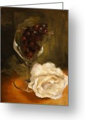 Schmidt Greeting Cards - Still Life with Rose Greeting Card by Alison Schmidt Carson