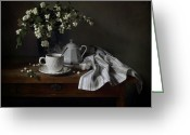 Teapot Greeting Cards - Still life with Snowberries Greeting Card by Helen Tatulyan