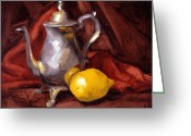 Schmidt Greeting Cards - Still Life with Tea Pot Greeting Card by Alison Schmidt Carson