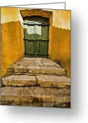 Old World Photography Greeting Cards - Stone Stair Entranceway  Greeting Card by David Letts