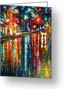 Leonid Afremov Greeting Cards - Storm in The City Greeting Card by Leonid Afremov
