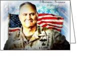 Operation Desert Storm Greeting Cards - Stormin Norman in memory of Greeting Card by Barbara Chichester