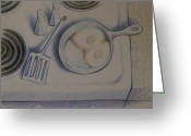 Water Drawings Greeting Cards - Stove Top   1995 Greeting Card by Larry Preston