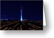 The Jump Greeting Cards - Stratosphere Tower Greeting Card by Arnold Despi