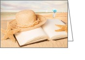 Straw Hat Greeting Cards - Straw Hat On Beach With Book Greeting Card by Christopher Elwell and Amanda Haselock