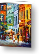 Coffe Greeting Cards - Street in Amsterdam Greeting Card by Leonid Afremov