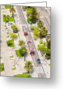 Red Lines Greeting Cards - Streets of Barcelona - view from above Greeting Card by Matthias Hauser