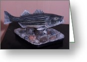 Wood Sculpture Greeting Cards - Striper Greeting Card by Richard Goohs