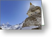 Ama Greeting Cards - Stupa and Ama Dablam mountain in the Everest Region of Nepal Greeting Card by Robert Preston