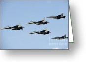 Featured Greeting Cards - Sukhoi Su-30 Mkm Aircraft And Fa-18 Greeting Card by Remo Guidi