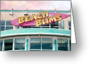 Aqua Art Greeting Cards - Summer Cottage Beach Bums Myrtle Beach Sign Greeting Card by Kathy Fornal