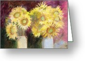 J Reifsnyder Greeting Cards - Sunflower Jars Greeting Card by J Reifsnyder