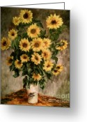 Masterpiece Drawings Greeting Cards - Sunflowers in a Vase Greeting Card by Carol Wisniewski
