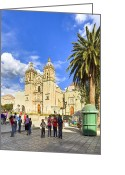 Colonial Scene Greeting Cards - Sunny Afternoon At The Church of Santo Domingo in Oaxaca Greeting Card by Mark E Tisdale