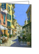 Mood Art Painting Greeting Cards - Sunny Side of the Street Greeting Card by Michael Swanson