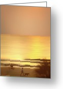 Golden Digital Art Greeting Cards - Sunrise at Topsail Island Greeting Card by Mike McGlothlen