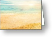 Shell Texture Greeting Cards - Sunset and  fine sand Greeting Card by Nikolina Petolas