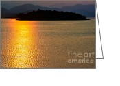 Shoreline Greeting Cards - Sunset Asia  Greeting Card by Adrian Evans