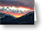 Spanish Peaks Greeting Cards - Sunset  Between the Peaks Greeting Card by Barbara Chichester