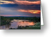 River Flooding Greeting Cards - Sunset On The Payette  River Greeting Card by Robert Bales