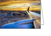 Aluminum Greeting Cards - Sunset over IAH Greeting Card by Scott Norris