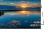 Shoreline Greeting Cards - Sunset Reflections Greeting Card by Adrian Evans