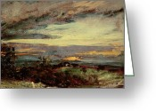 Nature Study Painting Greeting Cards - Sunset study of Hampstead Greeting Card by John Constable