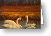 Swans Painting Greeting Cards - Sunset Swans Greeting Card by Jeanne Young