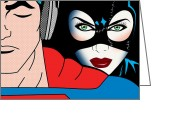 Animation Greeting Cards - Superman And Catwoman  Greeting Card by Mark Ashkenazi