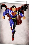 Superhero Greeting Cards - Superman - Man of Steel Greeting Card by Ayse Toyran