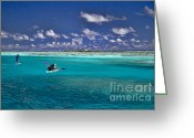 White Clouds Greeting Cards - Surf Board paddling in Moorea Greeting Card by David Smith