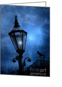 Ravens And Crows Photography Greeting Cards - Surreal Fantasy Gothic Night Lantern And Raven Greeting Card by Kathy Fornal