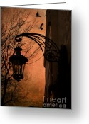 Fantasy Surreal Spooky Photography Greeting Cards - Surreal Fantasy Gothic Street Lantern and Ravens Greeting Card by Kathy Fornal