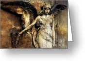 Surreal Gothic Angel Photography Greeting Cards - Surreal Gothic Angel Art Dark Sepia and Gold Greeting Card by Kathy Fornal