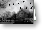 Ravens And Crows Photography Greeting Cards - Surreal Gothic Black and White Gate With Ravens Greeting Card by Kathy Fornal