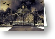 Fantasy Surreal Spooky Photography Greeting Cards - Surreal Gothic Haunting Gate With Ravens Greeting Card by Kathy Fornal