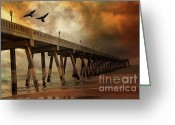 Stormy Skies Greeting Cards - Surreal Haunting Fishing Pier Ocean Coastal Storm Clouds  Greeting Card by Kathy Fornal